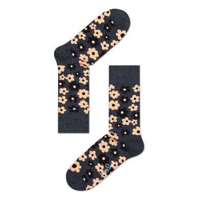 Šedé ponožky Happy Socks s barevným vzorem Flower