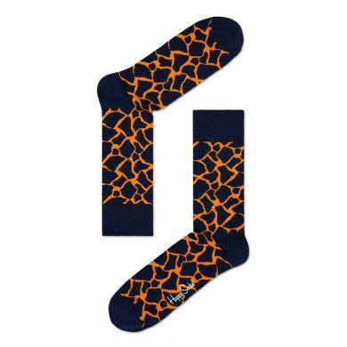 Modré ponožky Happy Socks s oranžovým vzorem Giraffe
