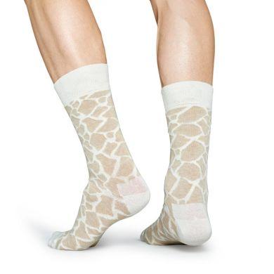 Béžovo-biele ponožky Happy Socks so vzorom Giraffe