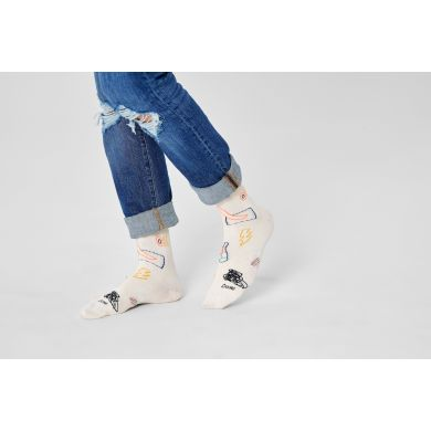 Biele ponožky Happy Socks, vzor Good Times