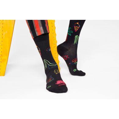 Čierne ponožky Happy Socks, vzor Good Times