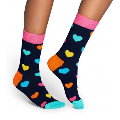 Modré ponožky Happy Socks s barevnými srdíčky, vzor Heart