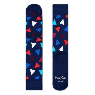 Modré ponožky Happy Socks s barevnými trojúhelníky, vzor Triangle // kolekce Athletic