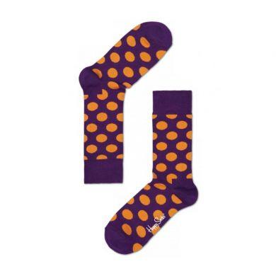 Fialové ponožky Happy Socks s oranžovými puntíky, vzor Big Dot
