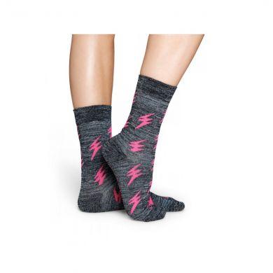 Šedivé ponožky Happy Socks s růžovými blesky, vzor Flash