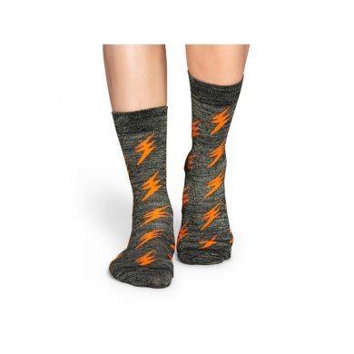 Šedivé ponožky Happy Socks s oranžovými třpytivými blesky, vzor Flash