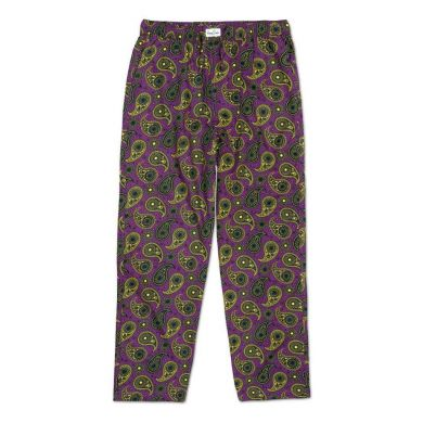 Fialové kalhoty Happy Socks se žlutým vzorem Paisley
