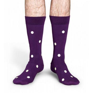 Fialové ponožky Happy Socks s bílými vinylovými puntíky