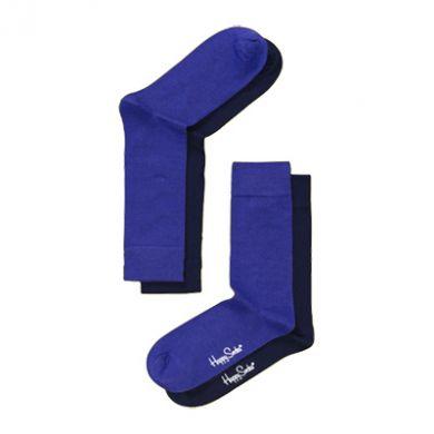 Fialové/modré ponožky Happy Socks One Color, dva páry