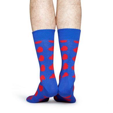 Modré ponožky Happy Socks s červenými srdiečkami, vzor Diagonal Heart