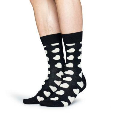 Čierne ponožky Happy Socks s bielymi srdiečkami, vzor Diagonal Heart