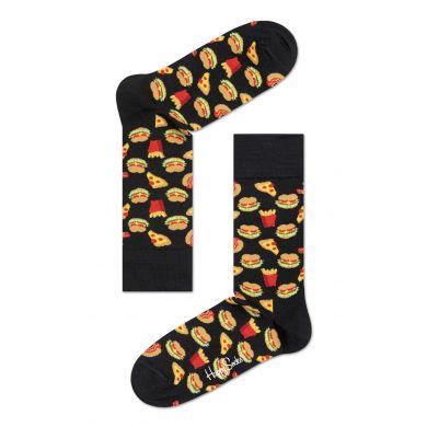 Černé ponožky Happy Socks se vzorem Hamburger