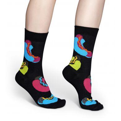 Černé ponožky Happy Socks s barevnými hotdogy // Kolekce Special Special