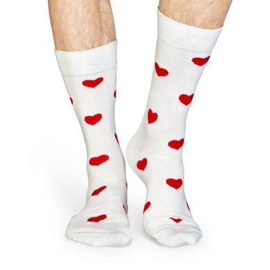 Biele ponožky Happy Socks s červenými srdiečkami, vzor Heart