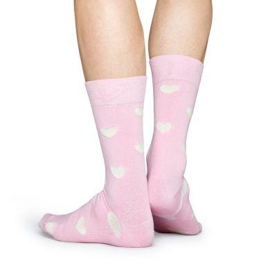 Ružové ponožky Happy Socks s bielymi srdiečkami, vzor Heart