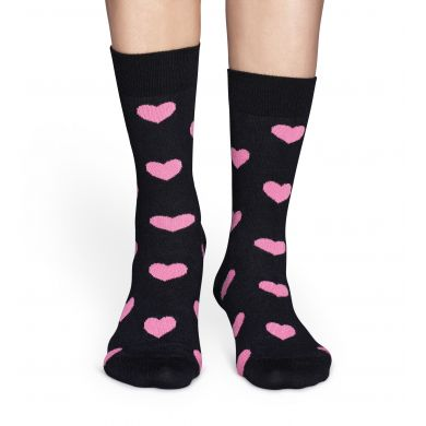 Černé ponožky Happy Socks s růžovými srdíčky, vzor Heart