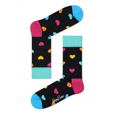 Modré ponožky Happy Socks s růžovými srdíčky, vzor Heart