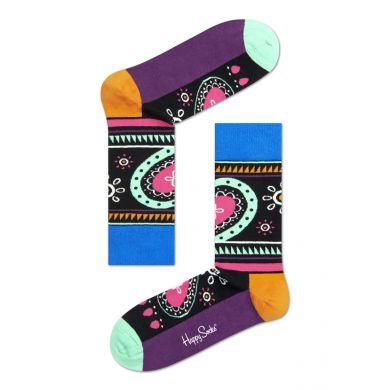 Černo-fialové ponožky Happy Socks s barevným vzorem Hippie