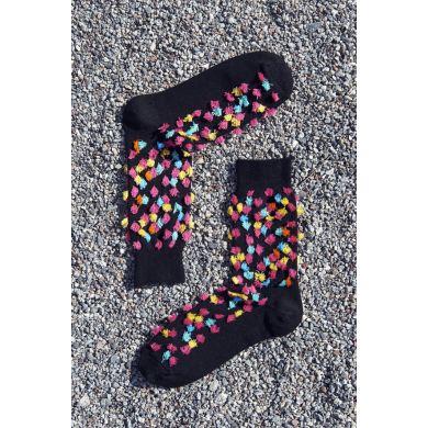 Černé ponožky Happy Socks s barevnými trsy // kolekce Special Special