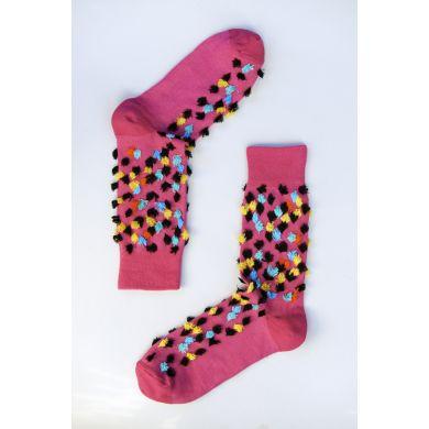 Růžové ponožky Happy Socks s barevnými trsy