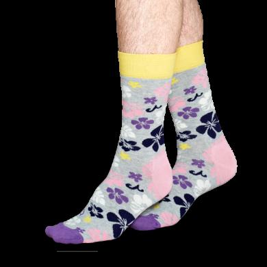 Šedé ponožky Happy Socks s barevným vzorem Hawaii
