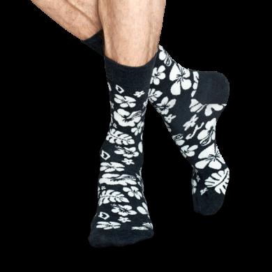 Šedo-bílé ponožky Happy Socks s havajskými květy, vzor Hawaii