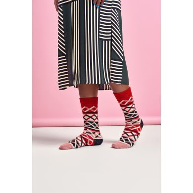 Dámske farebné (červené) ponožky Happy Socks Ellinor // kolekcia Hysteria