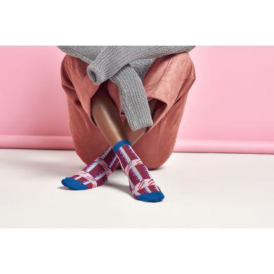 Dámske modro-červené ponožky Happy Socks Magda // kolekcia Hysteria