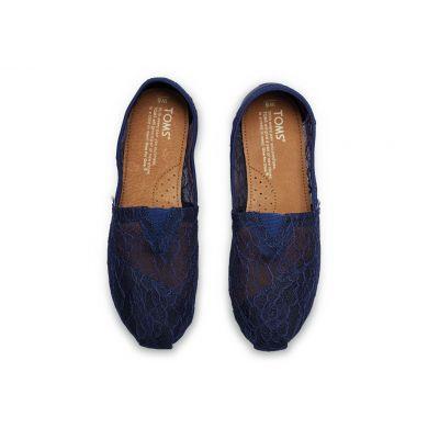 Modré dámské krajkové TOMS Alpargata