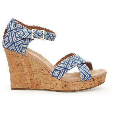Modro-bílé dámské sandálky na klínku TOMS Woven Diamond