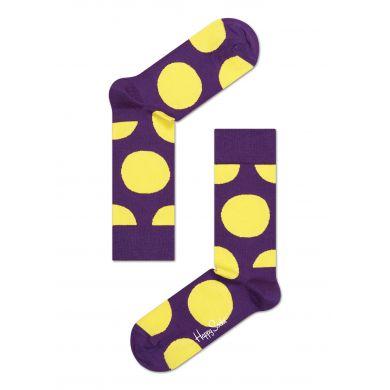 Fialové ponožky Happy Socks se žlutými kruhy