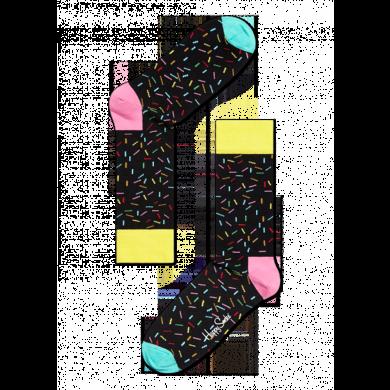 Černé ponožky Happy Socks s barevnými čárkami, vzor Anniversary Sprinkles