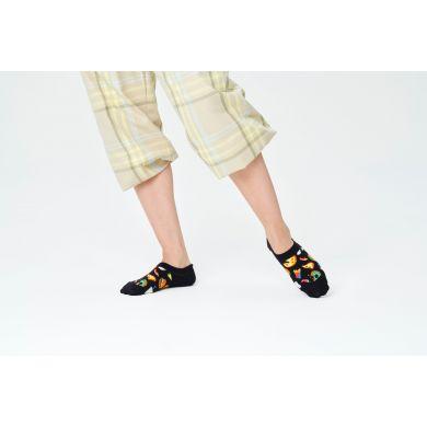 Čierne nízke ponožky Happy Socks, vzor Junk Food
