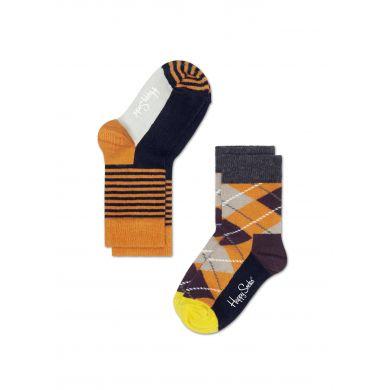 Dětské barevné ponožky Happy Socks, dva páry - proužky a káry