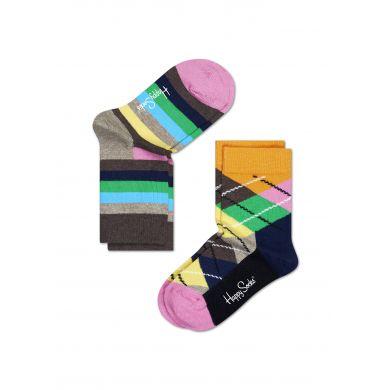 Dětské barevné ponožky Happy Socks, dva páry - pruhy a káry