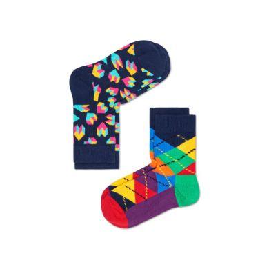 Detské farebné ponožky Happy Socks, dva páry – Steps a Argyle