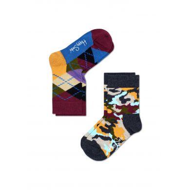 Dětské barevné ponožky Happy Socks, dva páry - káry a maskáč