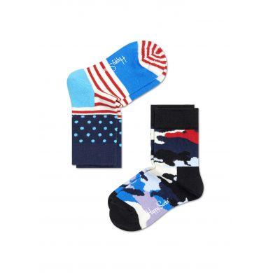 Dětské barevné ponožky Happy Socks, dva páry - Stripe Dot a maskáč