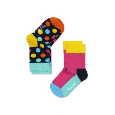 Dětské barevné ponožky Happy Socks, dva páry -Five Color a puntíky