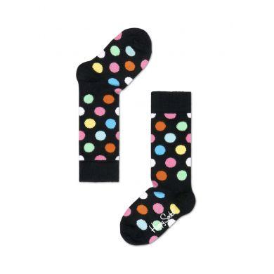Dětské černé ponožky Happy Socks s barevnými puntíky, vzor Big Dot