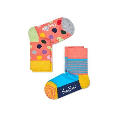 Detské farebné ponožky Happy Socks, dva páry - Big Dot a Half Stripe