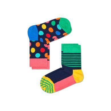 Dětské barevné ponožky Happy Socks, dva páry – Big Dot a Half Stripe