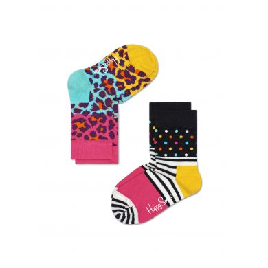 Dětské barevné ponožky Happy Socks, dva páry - Stripe Dot a Leopard