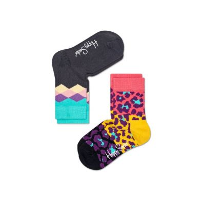 Detské farebné ponožky Happy Socks, dva páry – Argyle a Leopard