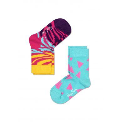 Dětské barevné ponožky Happy Socks, dva páry - zebra a trojúhelníky