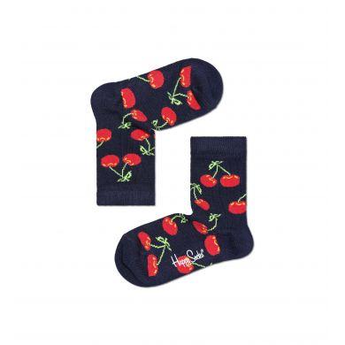 Detské modré ponožky Happy Socks s čerešničkami, vzor Cherry