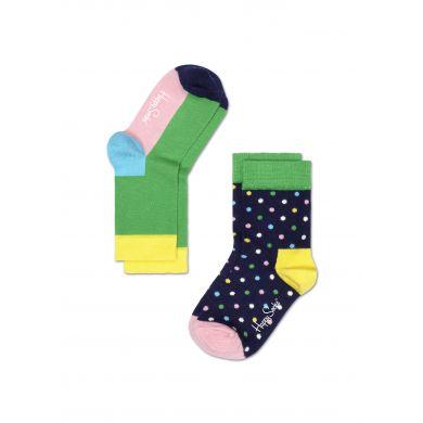 Dětské barevné ponožky Happy Socks, dva páry - Five Color a tečky