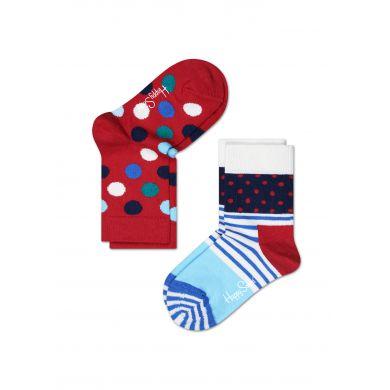Dětské barevné ponožky Happy Socks, dva páry - Stripe Dot a puntíky
