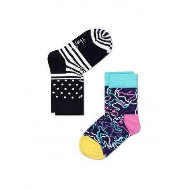 Dětské barevné ponožky Happy Socks, dva páry - Stripe Dot a Electric