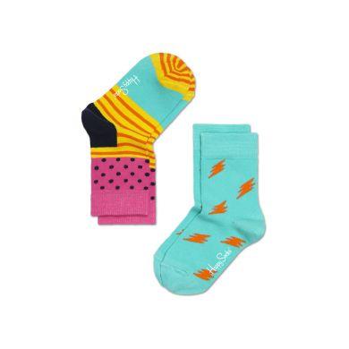 Dětské barevné ponožky Happy Socks, dva páry - Stripe Dot a blesky
